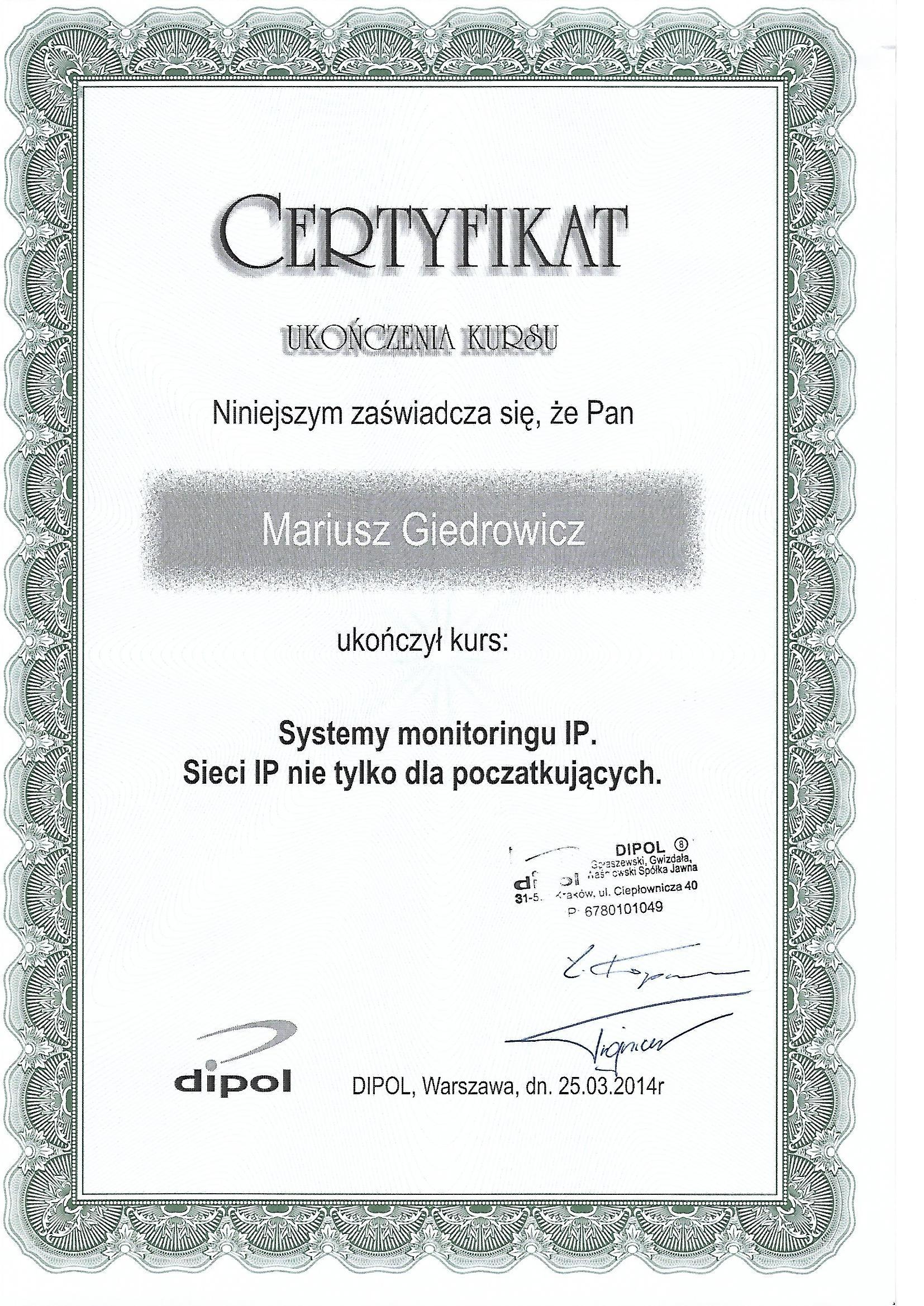 Certyfikat - systemy monitoringu IP